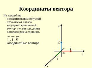 Координаты вектора На каждой из положительных полуосей отложим от начала коор