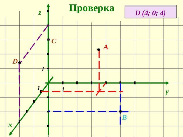 Проверка x y z А (1; 4; 3) А В (0; 5; -3) 1 1 1 В С (0; 0; 3) С D (4; 0; 4) D