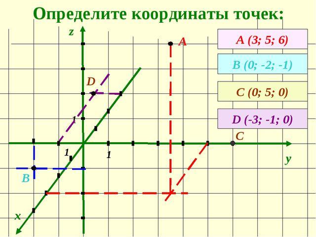 Определите координаты точек: x y z А (3; 5; 6) А В (0; -2; -1) 1 1 1 В С (0;...