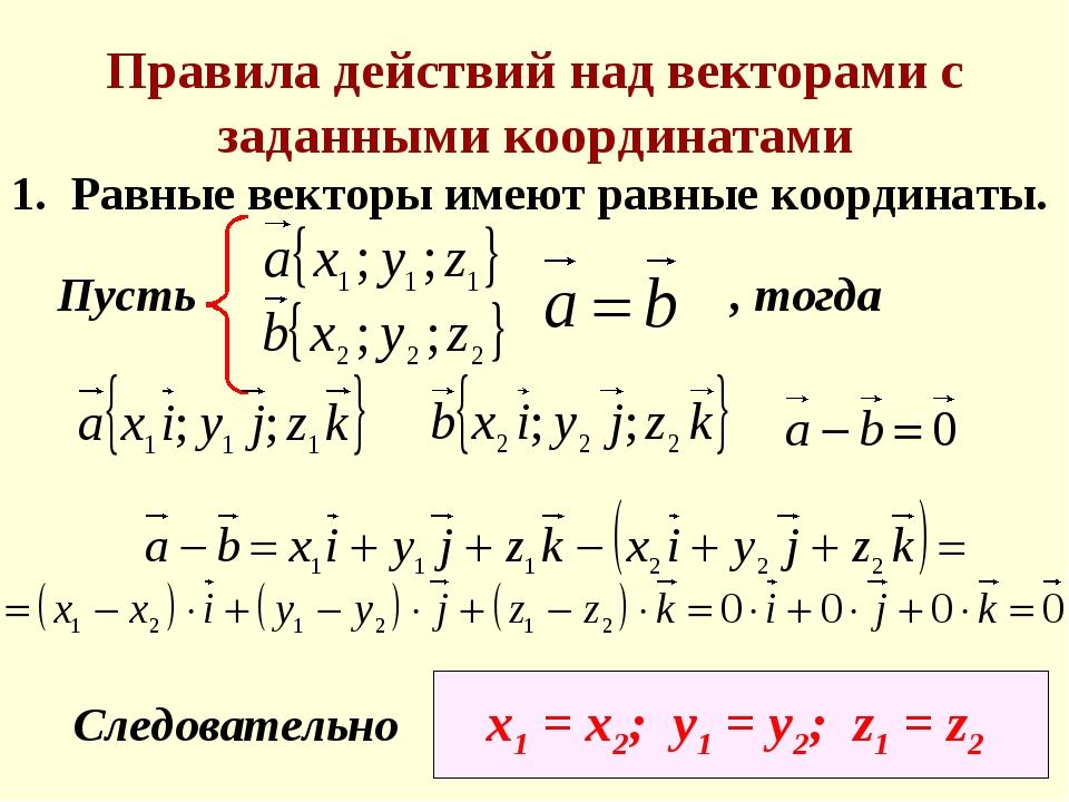 Правила действий над векторами с заданными координатами 1. Равные векторы име...