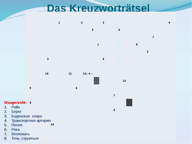 Das Kreuzworträtsel Waagerecht: Рейн Берег Боденское озеро Транспортная артер...