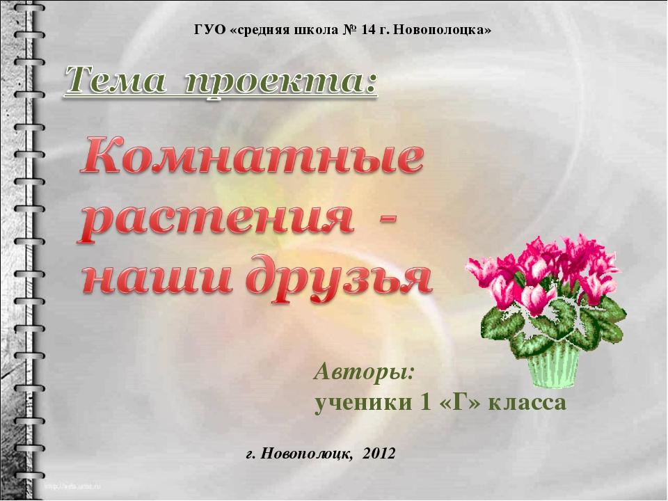Авторы: ученики 1 «Г» класса ГУО «средняя школа № 14 г. Новополоцка» г. Новоп...