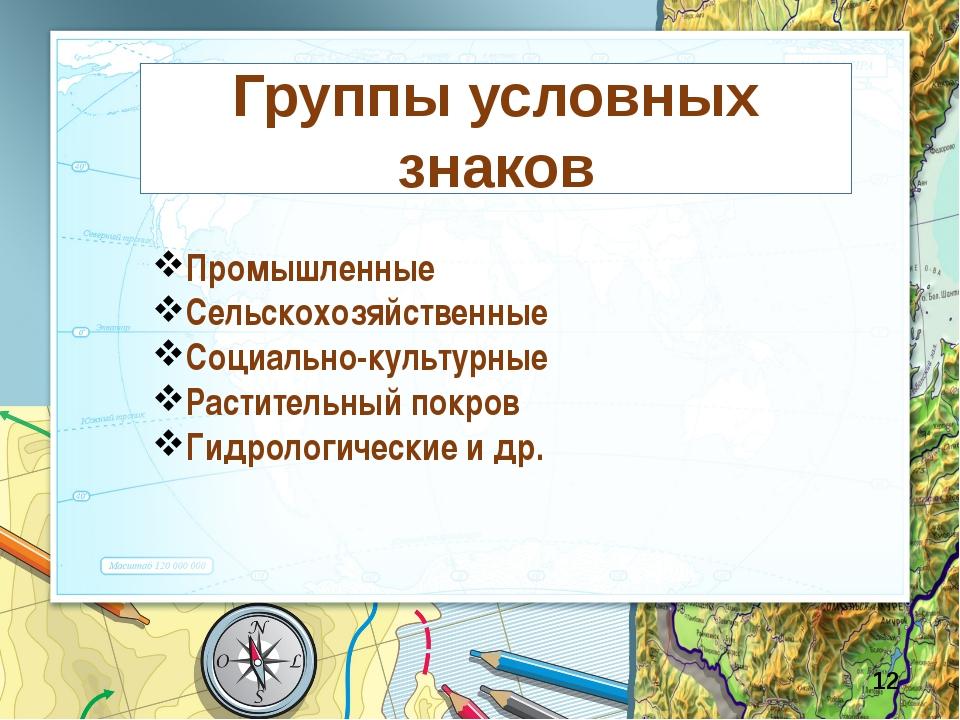 Группы условных знаков Промышленные Сельскохозяйственные Социально-культурны...