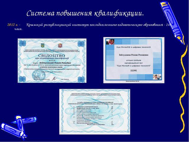 Система повышения квалификации. 2012 г. - Крымский республиканский институт...