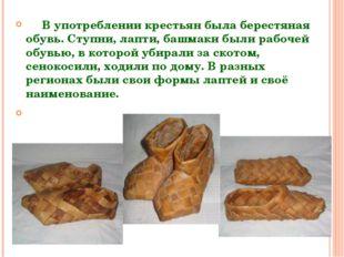 В употреблении крестьян была берестяная обувь. Ступни, лапти, башмаки были р