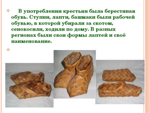 В употреблении крестьян была берестяная обувь. Ступни, лапти, башмаки были р...