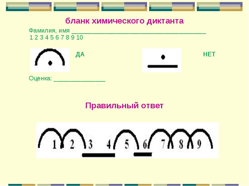 бланк химического диктанта Фамилия, имя _____________________________________...