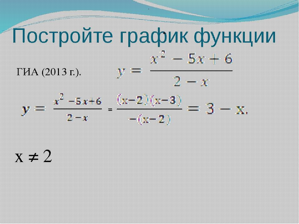 Постройте график функции ГИА (2013 г.). . = = х ≠ 2