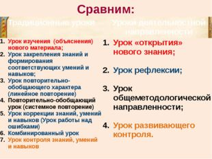 Сравним: Традиционные уроки Урокидеятельностнойнаправленности Урок изучения (