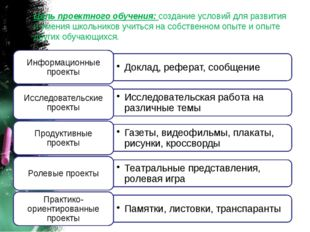 Цель проектного обучения: создание условий для развития и умения школьников у