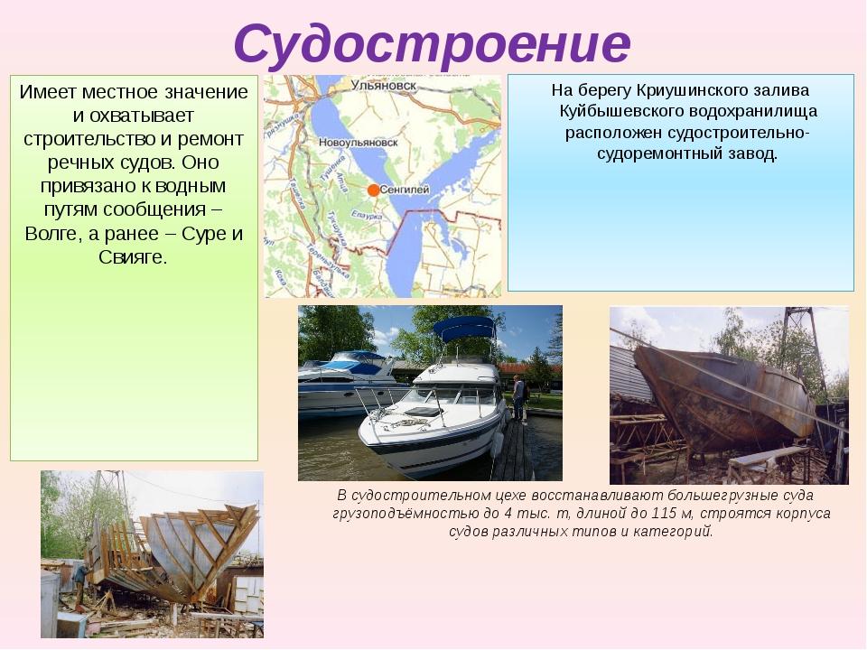 Судостроение Имеет местное значение и охватывает строительство и ремонт речны...