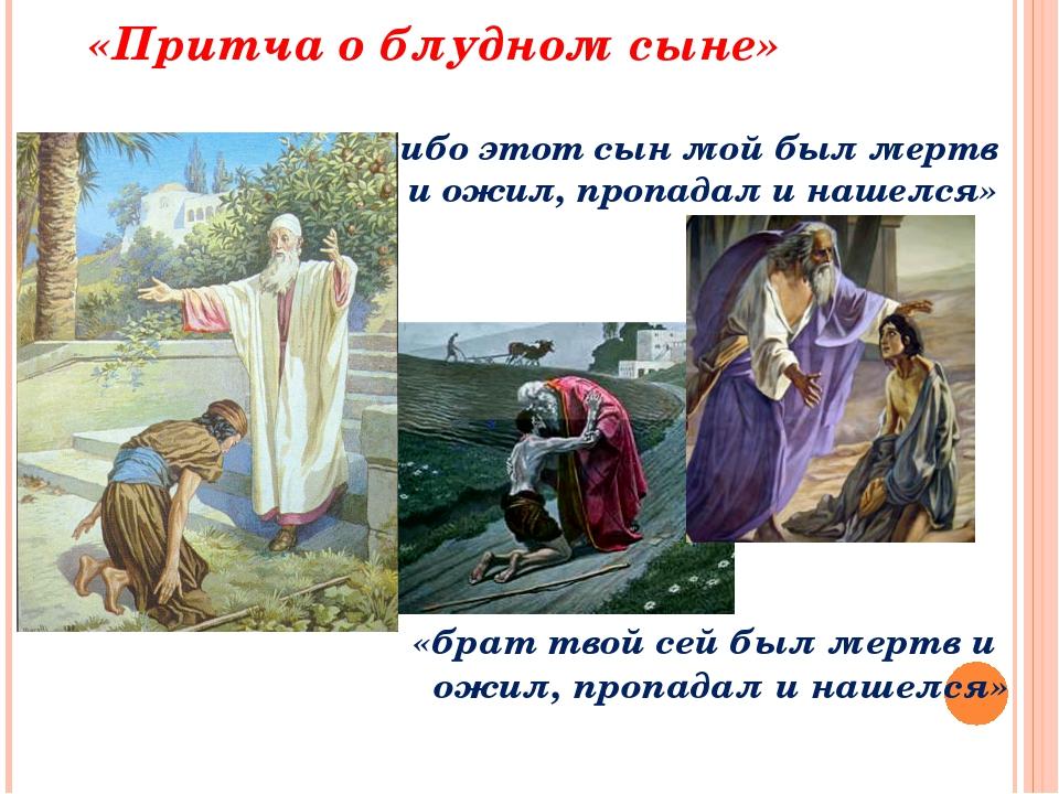 «Притча о блудном сыне» «ибо этот сын мой был мертв и ожил, пропадал и нашел...