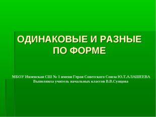 ОДИНАКОВЫЕ И РАЗНЫЕ ПО ФОРМЕ МБОУ Инзенская СШ № 1 имени Героя Советского Сою