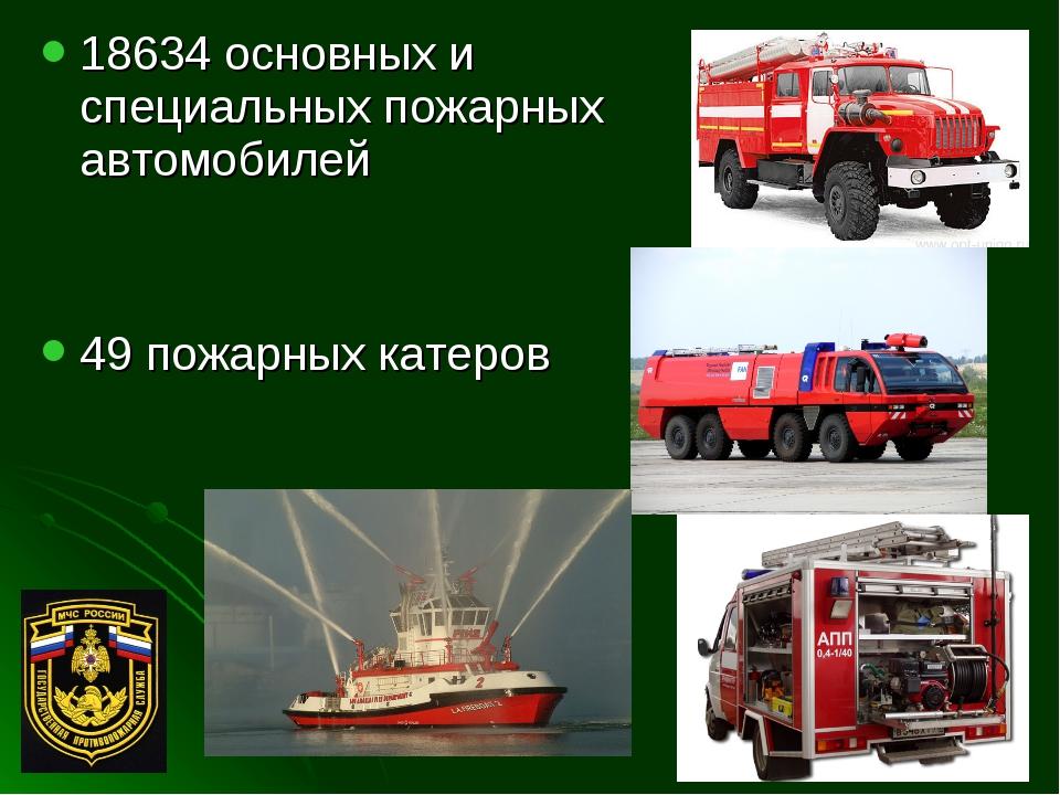 18634 основных и специальных пожарных автомобилей 49 пожарных катеров