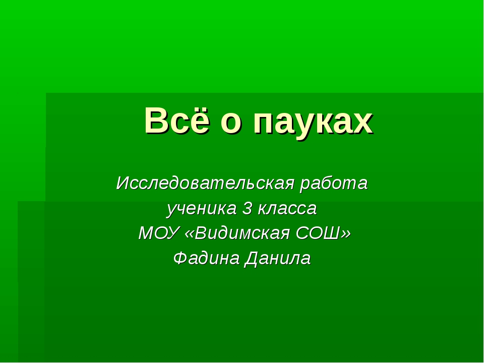 Всё о пауках Исследовательская работа ученика 3 класса МОУ «Видимская СОШ» Фа...