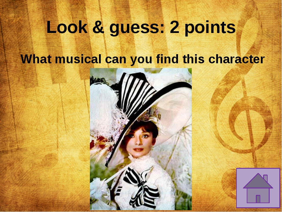 Characters: 2 points 	In which musical are King Arthur, Queen Guinevere and S...