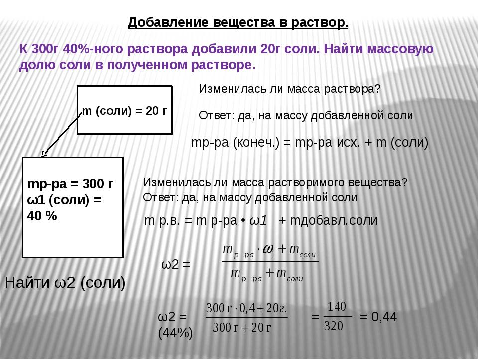 Добавление вещества в раствор. К 300г 40%-ного раствора добавили 20г соли. На...
