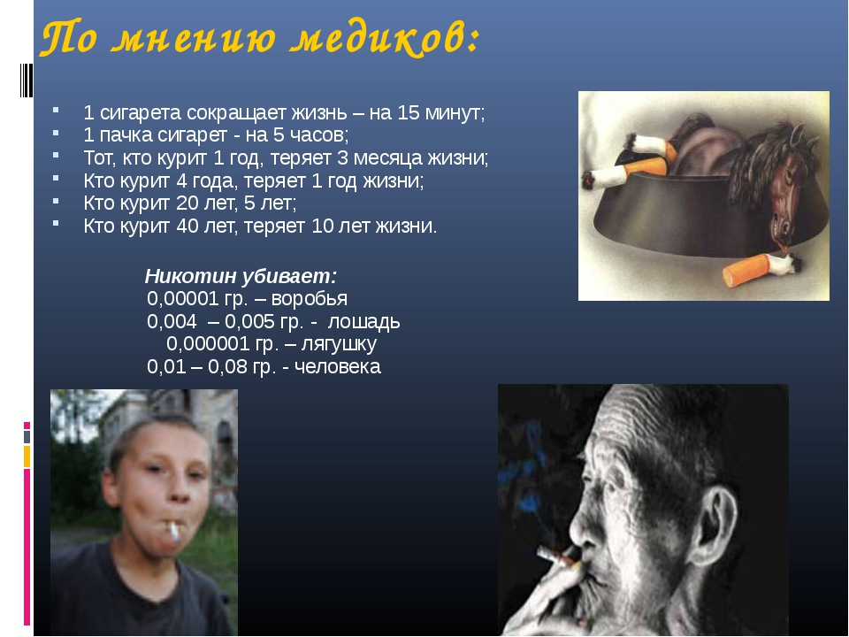 По мнению медиков: 1 сигарета сокращает жизнь – на 15 минут; 1 пачка сигарет...