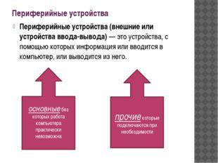 Периферийные устройства Периферийные устройства (внешние или устройства ввода
