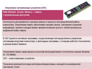 Оперативное запоминающее устройство (ОЗУ). RАМ (RandomAccessMemory— память