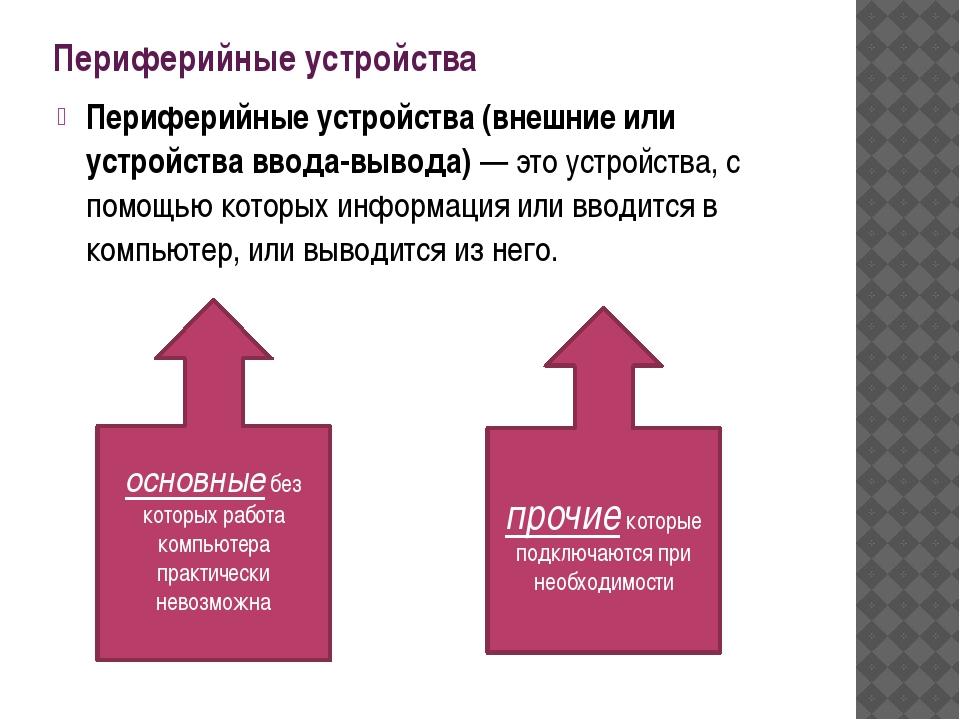 Периферийные устройства Периферийные устройства (внешние или устройства ввода...