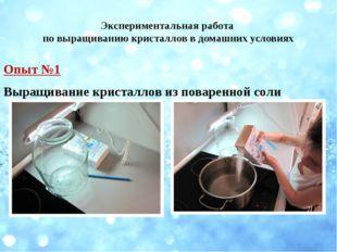 Экспериментальная работа по выращиванию кристаллов в домашних условиях Опыт №