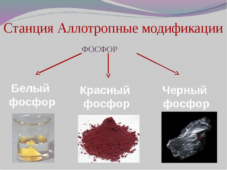 Станция Аллотропные модификации                                          ФОСФОР