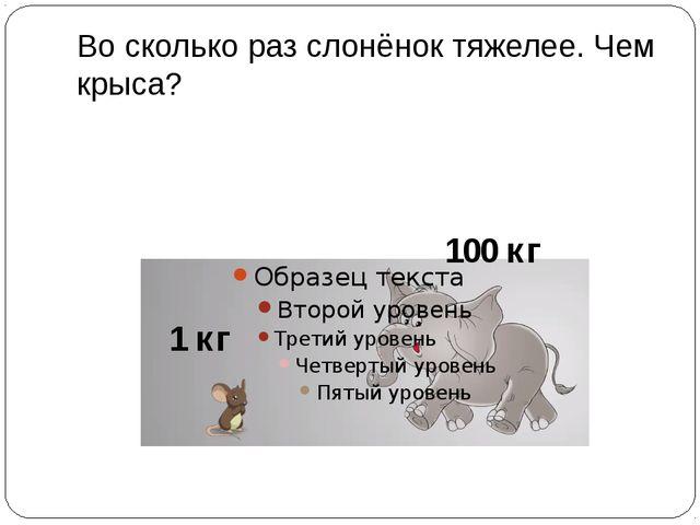 Во сколько раз слонёнок тяжелее. Чем крыса? 1 кг 100 кг