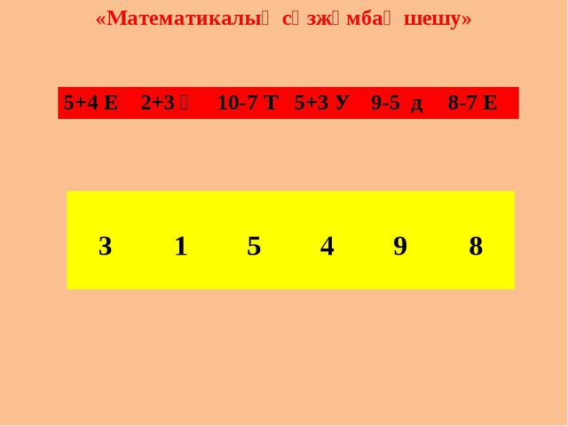 «Математикалық сөзжұмбақ шешу» 5+4 Е	2+3 Ң	10-7 Т 	5+3 У	9-5 д	8-7 Е 					 3...