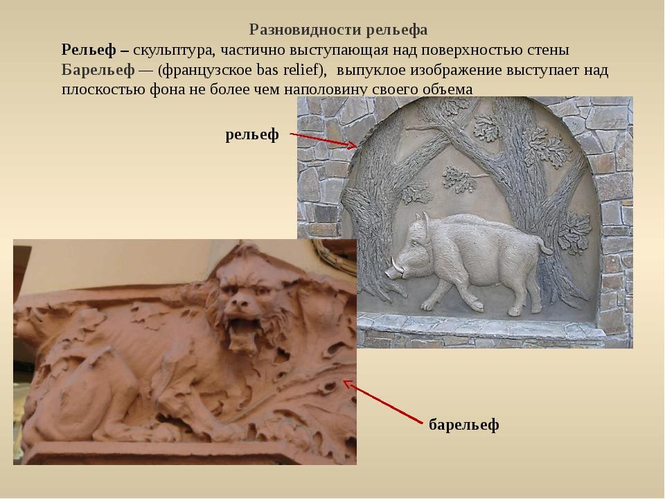 Разновидности рельефа Рельеф – скульптура, частично выступающая над поверхн...