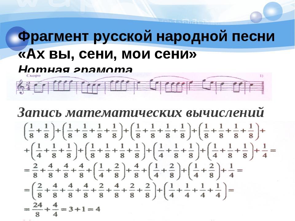 Фрагмент русской народной песни «Ах вы, сени, мои сени» Нотная грамота Запис...