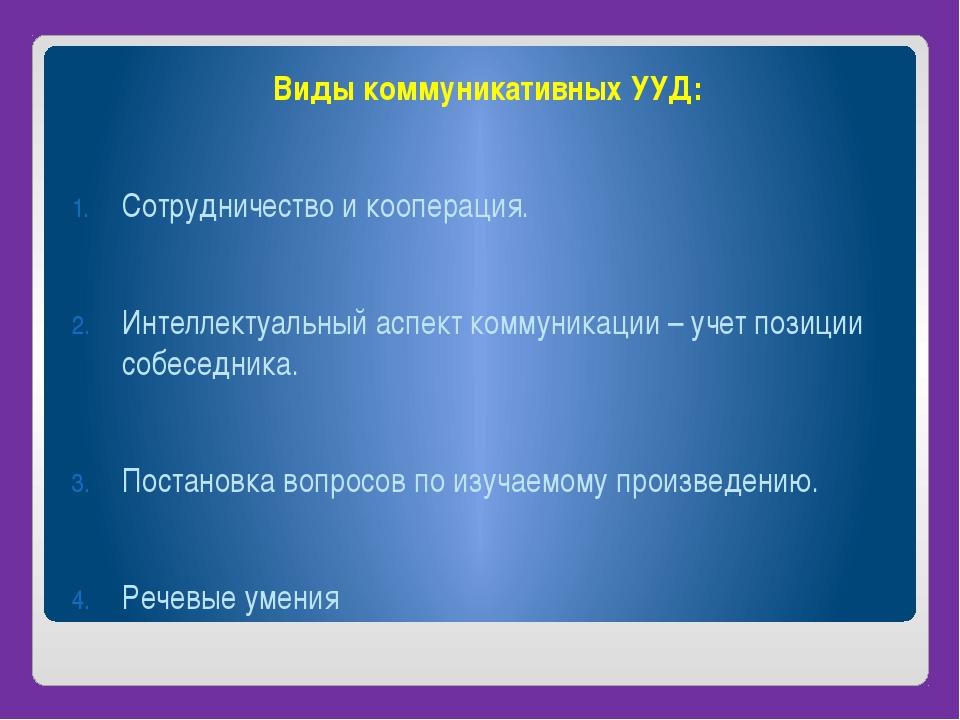 Виды коммуникативных УУД: Сотрудничество и кооперация. Интеллектуальный аспе...