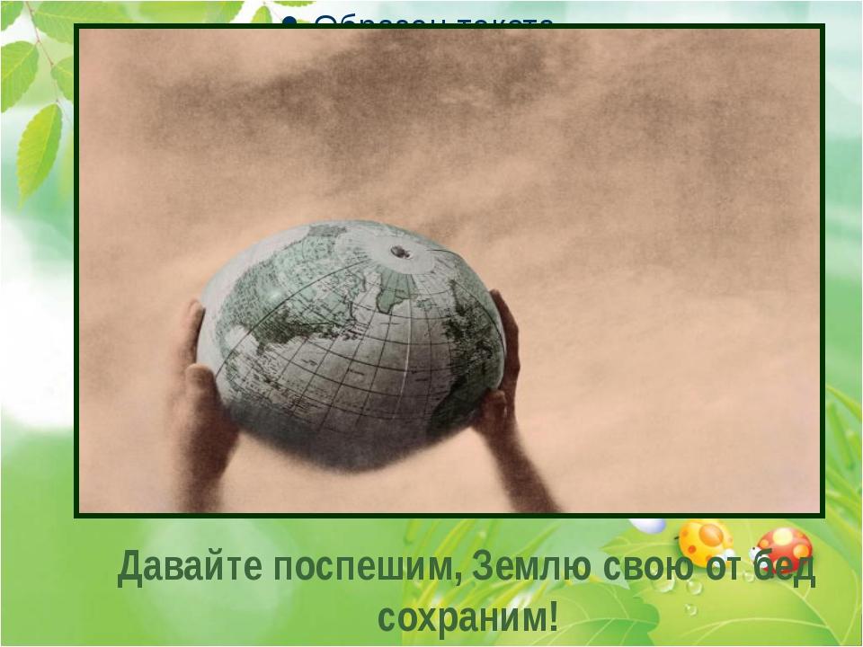 . . . Давайте поспешим, Землю свою от бед сохраним!