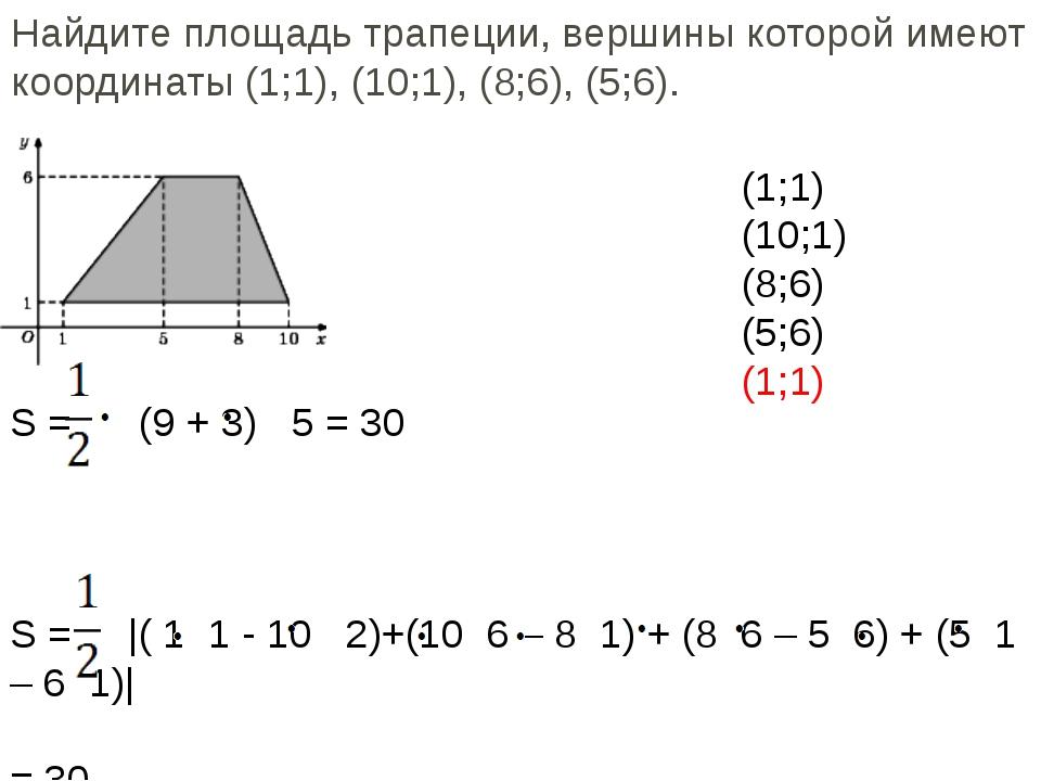 Найдите площадь трапеции, вершины которой имеют координаты (1;1), (10;1), (8;...
