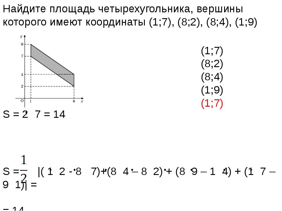 Найдите площадь четырехугольника, вершины которого имеют координаты (1;7), (8...