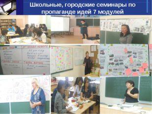 Школьные, городские семинары по пропаганде идей 7 модулей