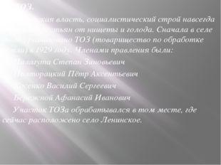 Г) ТОЗ. Советская власть, социалистический строй навсегда избавили крестьян