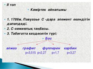 ІІ топ Көміртек айналымы 1. 1789ж. Лавуазье С -дара элемент екендігін дәлелде