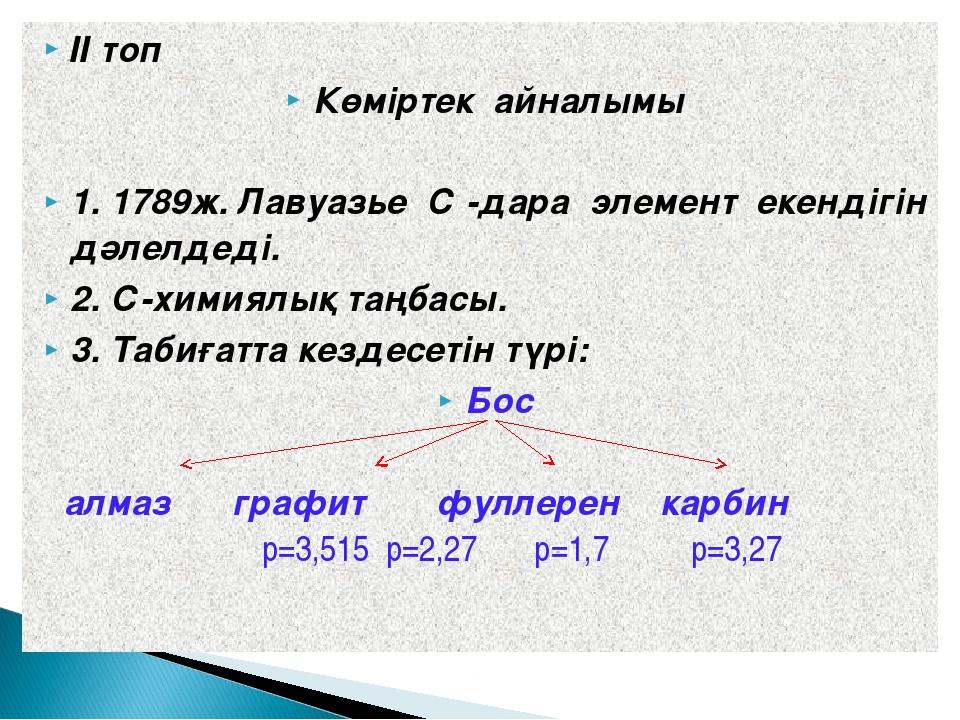 ІІ топ Көміртек айналымы 1. 1789ж. Лавуазье С -дара элемент екендігін дәлелде...