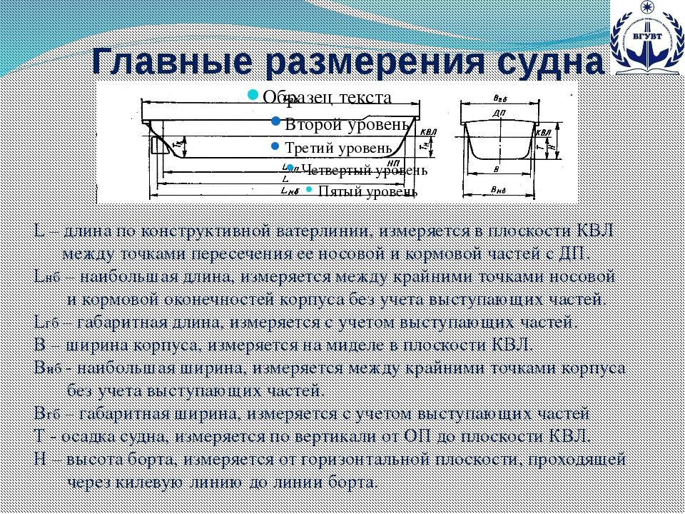 Главные размерения судна L – длина по конструктивной ватерлинии, измеряется в...