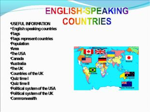 USEFUL INFORMATION English speaking countries Flags Flags represent countries