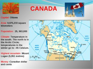 Capital: Ottawa Area: 9,975,233 square kilometers Population : 25, 963,000