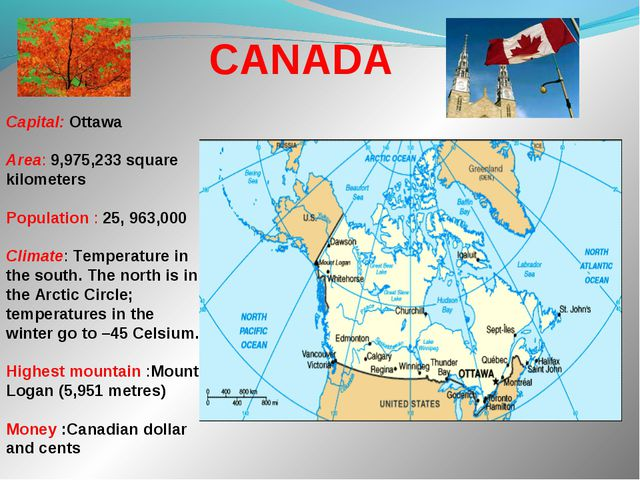 Capital: Ottawa Area: 9,975,233 square kilometers Population : 25, 963,000...