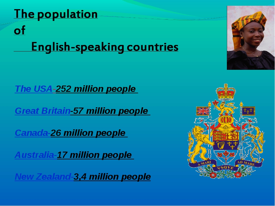 The USA-252 million people Great Britain-57 million people Canada-26 million...