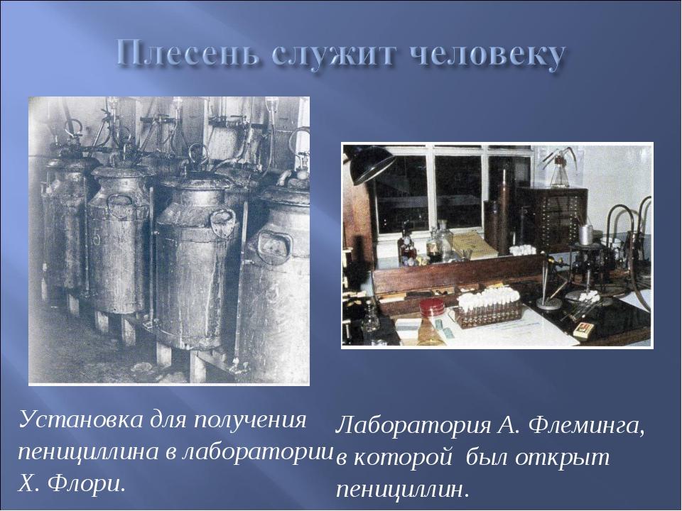 Установка для получения пенициллина в лаборатории Х. Флори. Лаборатория А. Фл...
