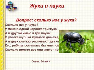 Жуки и пауки Вопрос: сколько ног у жука? Сколько ног у паука? У меня в одной