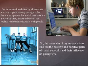 Social network websites by all accounts are very popular among teenagers. Bu