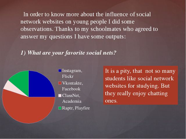 In order to know more about the influence of social network websites on youn...