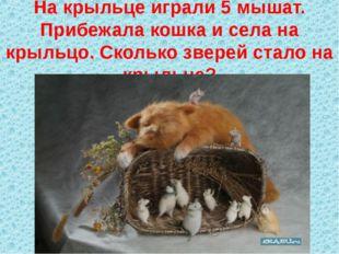 На крыльце играли 5 мышат. Прибежала кошка и села на крыльцо. Сколько зверей