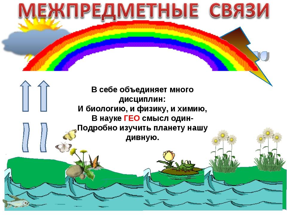 В себе объединяет много дисциплин: И биологию, и физику, и химию, В науке ГЕО...
